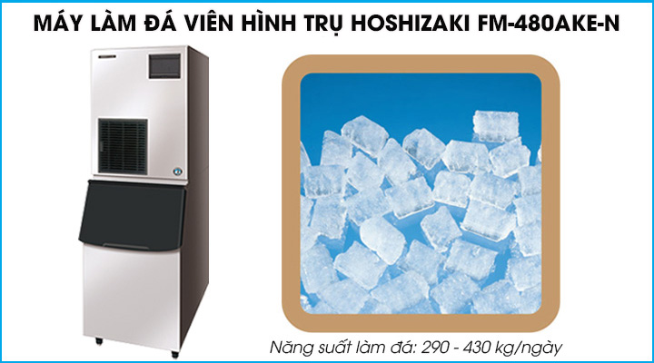 Máy làm đá viên Hoshizaki FM-480AKE-N chuyên sản xuất đá hình trụ với năng suất 290-430 kg/ngày