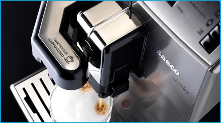 Máy pha cà phê Saeco Lirika OTC trang bị hệ thống pha chế cà phê tiện lợi