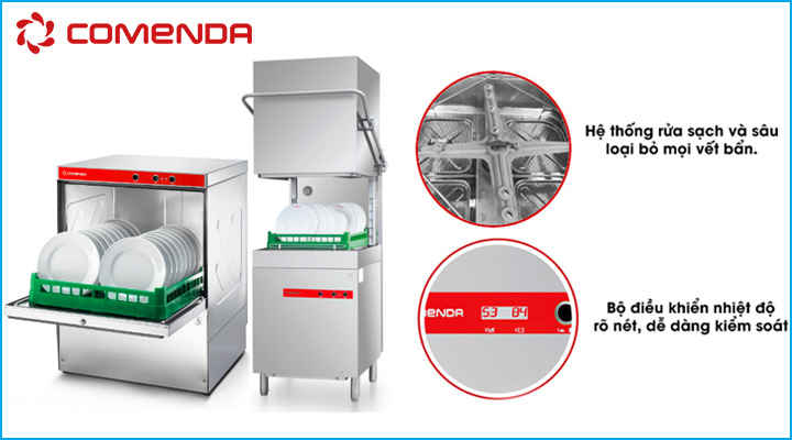 Máy rửa ly chén Comenda có chất liệu bền đẹp cùng tính năng rửa hiện đại