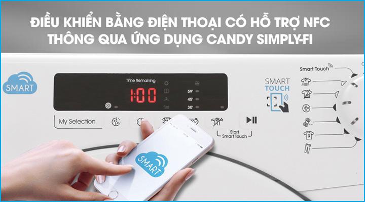 Máy sấy quần áo Candy CSV9DF-S có chức năng điều khiển bằng điện thoại