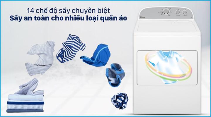 Máy sấy quần áo Whirlpool 3LWED4815FW có 14 chương trình sấy