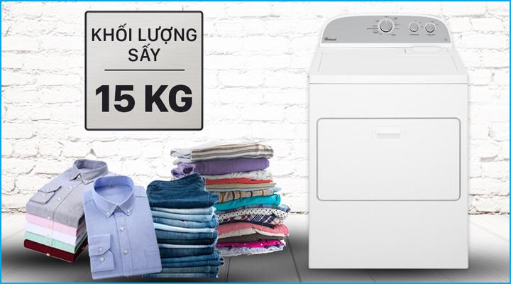 Máy sấy quần áo Whirlpool 3LWED4815FW có công suất sấy 15kg
