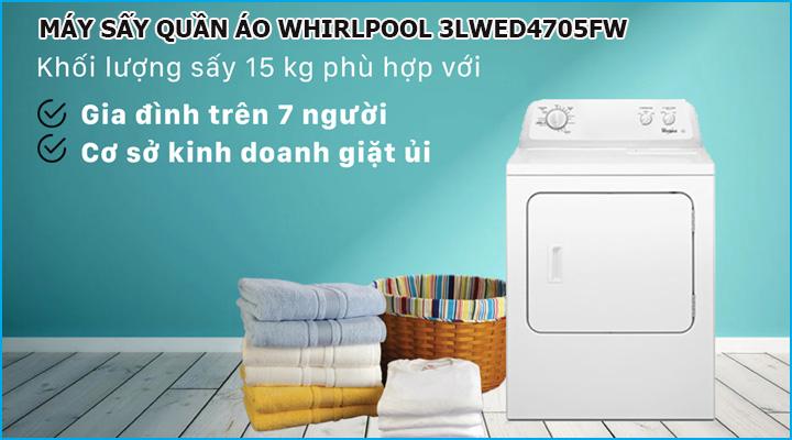 Máy sấy quần áo Whirlpool 3LWED4705FW