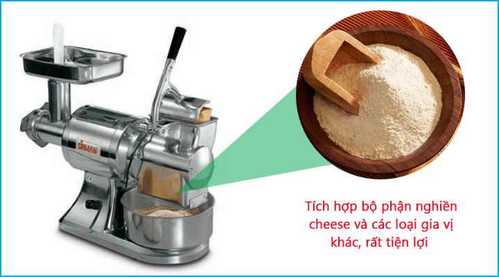 Máy xay thịt Sirman TCG tích hợp thêm bộ phận nghiền cheese tiện lợi