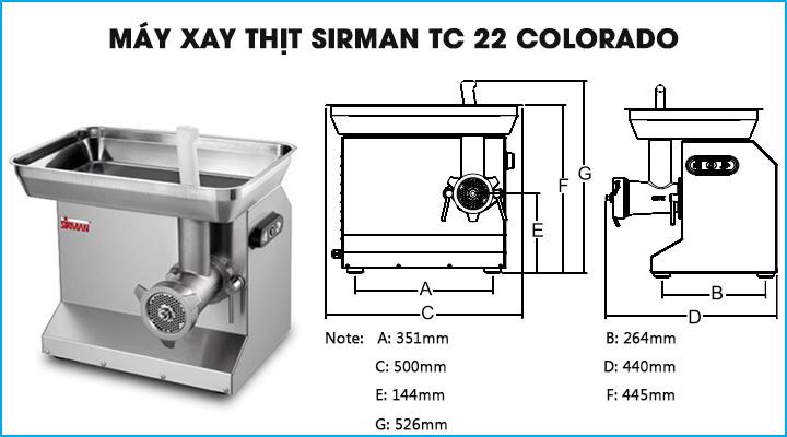 Máy xay thịt công nghiệp Sirman TC 22 Colorado