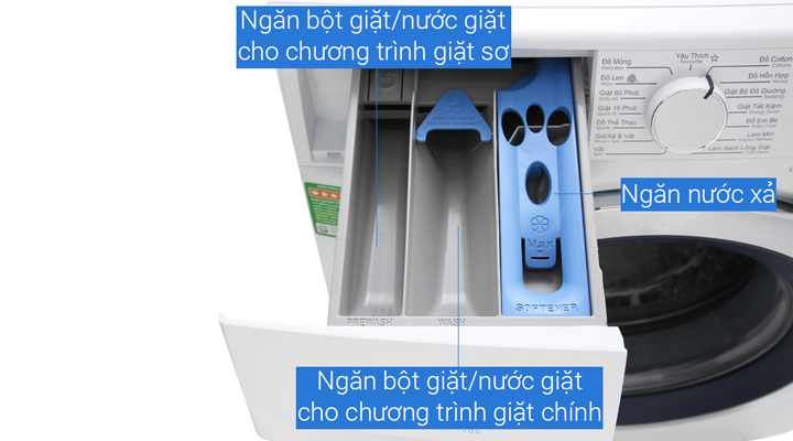 Máy giặt Electrolux EWF9024BDWB có ngăn đựng giặt xả rộng rãi