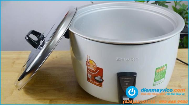 nồi nấu cơm công nghiệp Sharp có thiết kế đơn giản, dạng nắp rời