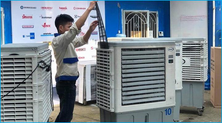 Quạt hơi nước được vệ sinh kỹ càng trước khi xuất kho cho thuê