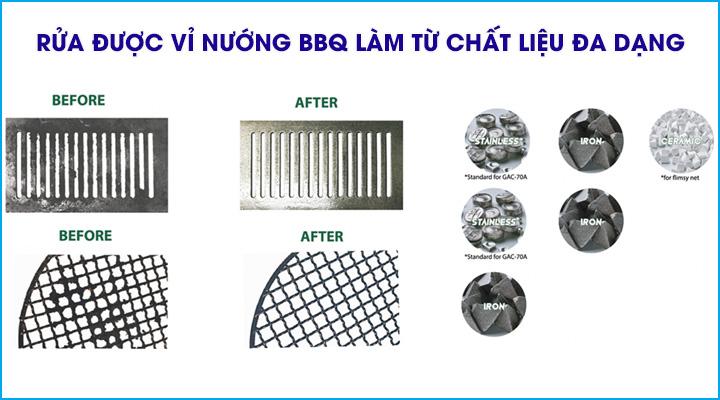 Máy rửa vỉ nướng BBQ GRC-35B có thể rửa đa dạng các loại vỉ nướng