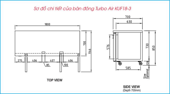 Sơ đồ chi tiết của bàn đông Turbo Air KUF18-3