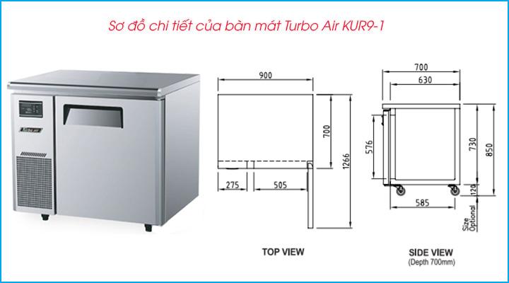 Sơ đồ chi tiết của bàn mát Turbo Air KUR9-1