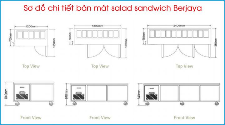 Sơ đồ chi tiết của bàn mát salad Berjaya