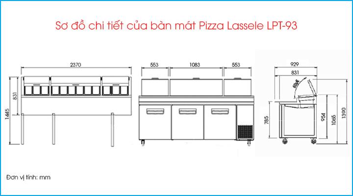 Sơ đồ chi tiết của bàn mát pizza Lassele LPT-93