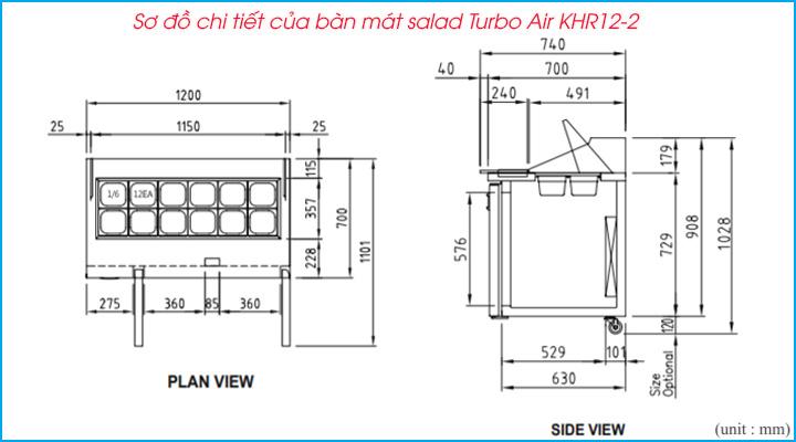 Sơ đồ chi tiết của bàn mát salad Turbo Air KHR12-2