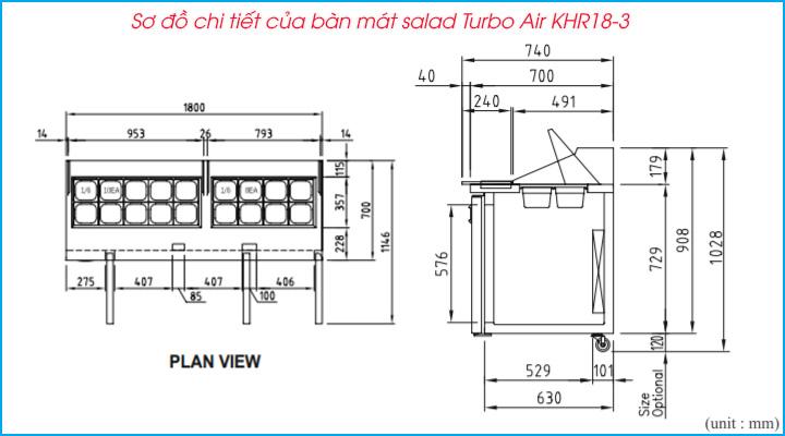 Sơ đồ chi tiết của bàn mát salad Turbo Air KHR18-3 1m8