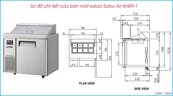 Sơ đồ chi tiết của bàn mát salad Turbo Air KHR9-1