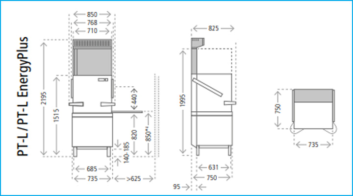 Sơ đồ chi tiết của máy rửa chén PT-L