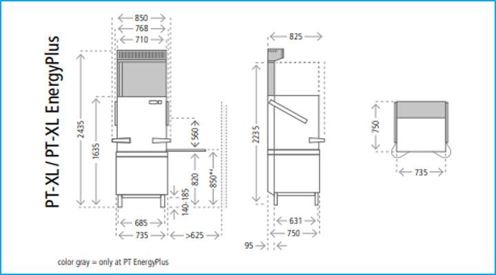 Sơ đồ chi tiết của máy rửa chén PT-XL