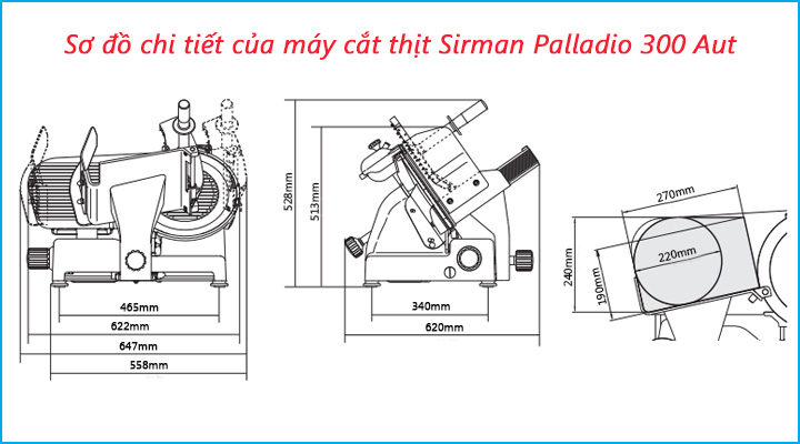 Sơ đồ chi tiết của máy cắt thịt Sirman Palladio 300 Aut
