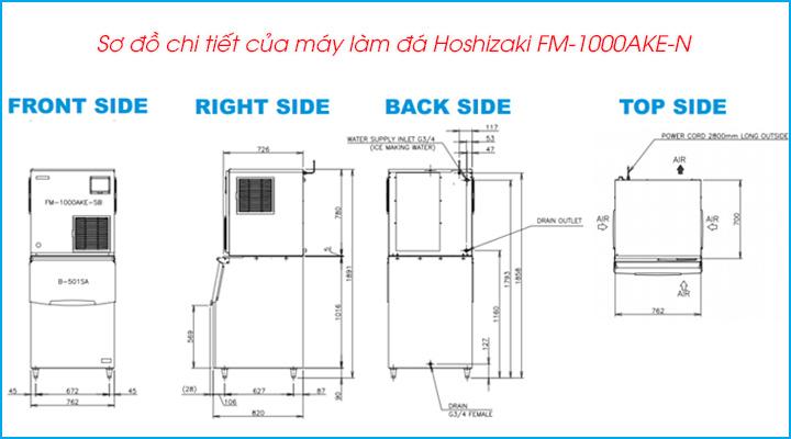 Sơ đồ chi tiết của máy làm đá viên Hoshizaki FM-1000AKE-N
