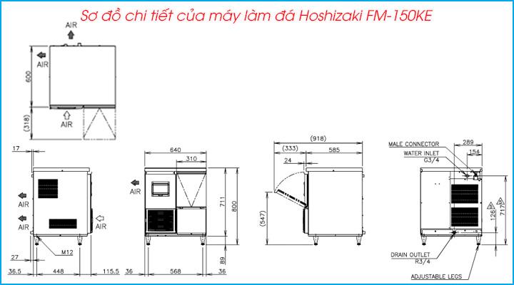 Sơ đồ chi tiết của máy làm đá vảy Hoshizaki FM-150KE