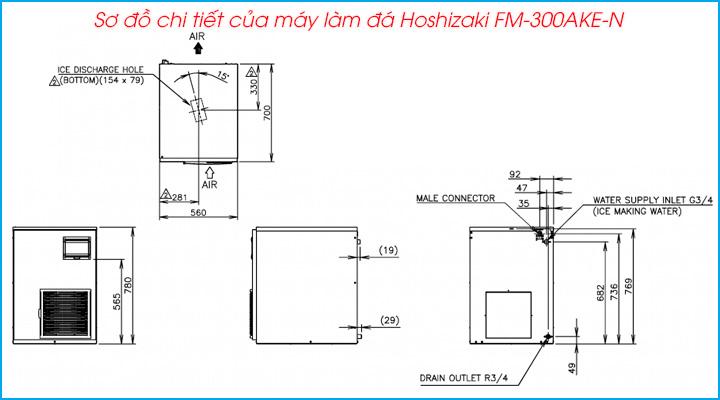 Sơ đồ chi tiết của máy làm đá viên Hoshizaki FM-300AKE-N