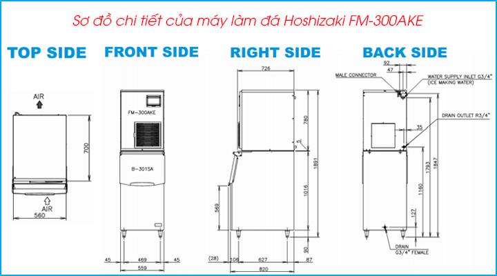 Sơ đồ chi tiết của máy làm đá vảy Hoshizaki FM-300AKE