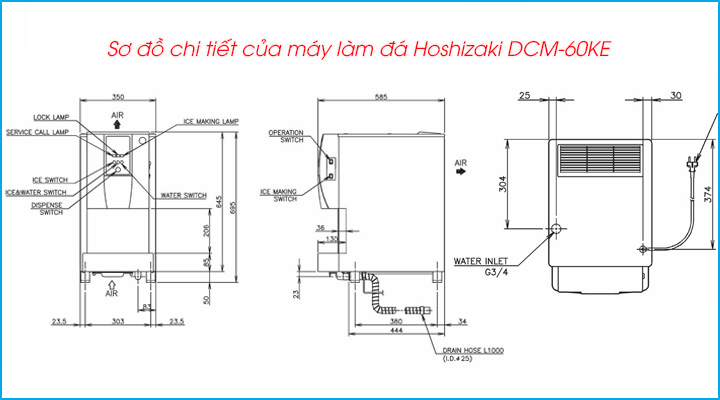 Sơ đồ chi tiết của máy làm đá Hoshizaki DCM-60KE