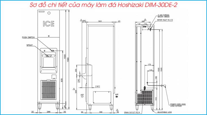 Sơ đồ chi tiết của máy làm đá Hoshizaki DIM-30DE-2