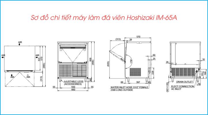 Sơ đồ chi tiết của máy làm đá Hoshizaki IM-65A