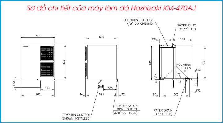 Sơ đồ chi tiết của máy làm đá Hoshizaki KM-470AJ