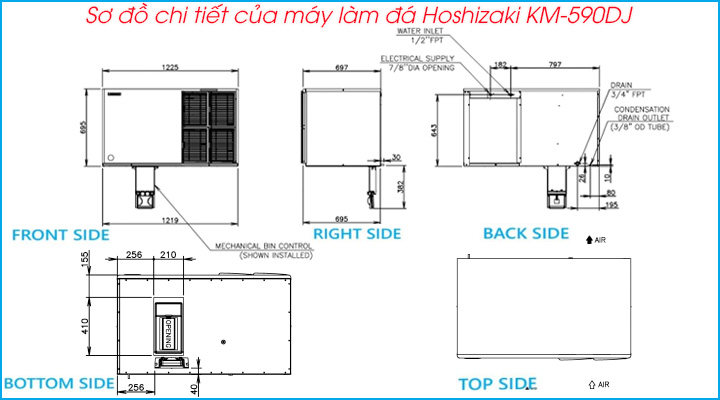 Sơ đồ chi tiết của máy làm đá Hoshizaki KM-590DJ