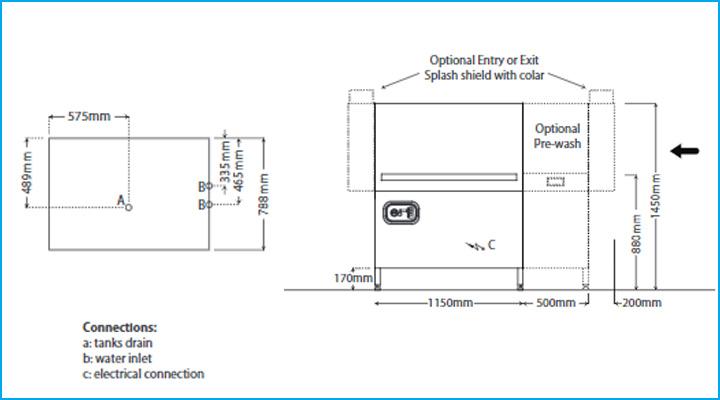 Sơ đồ chi tiết của máy rửa chén Comenda AC2