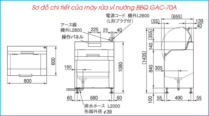 Sơ đồ chi tiết của máy rửa vỉ nướng BBQ GAC-70A