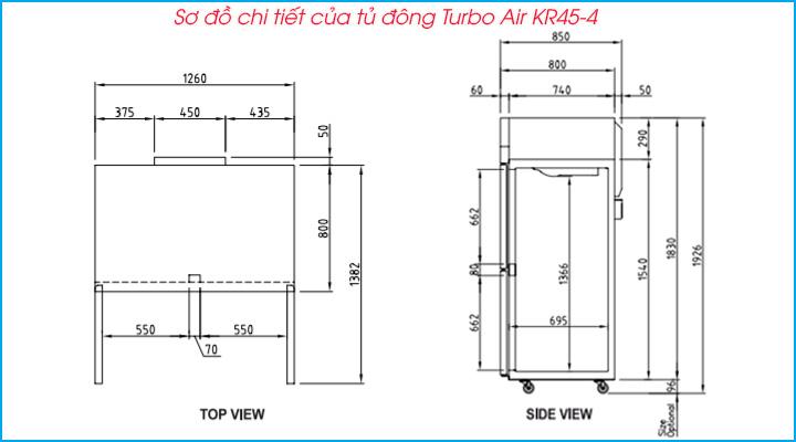 Sơ đồ chi tiết của tủ đông 4 cánh Turbo Air KF45-4