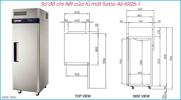 Tổng quan về tủ mát 1 cánh Turbo Air KR25-1