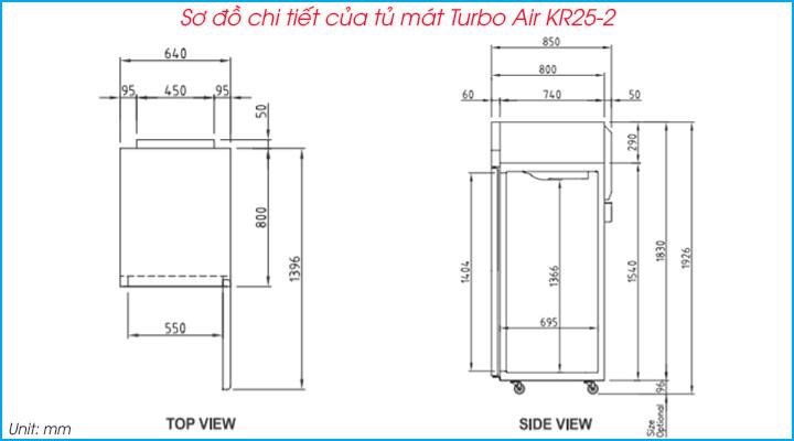 Sơ đồ chi tiết của tủ mát 2 cánh Turbo Air KR25-2