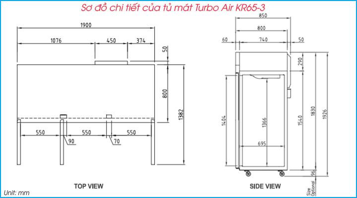 Sơ đồ chi tiết của tủ mát Turbo Air KR65-3