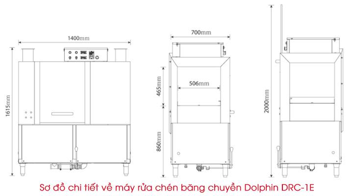 Sơ đồ chi tiết của máy rửa chén Dolphin DRC-1E