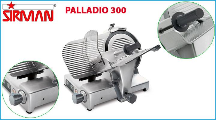 Tay cầm và chân đế của máy cắt thịt Sirman Palladio 300 bằng cao su