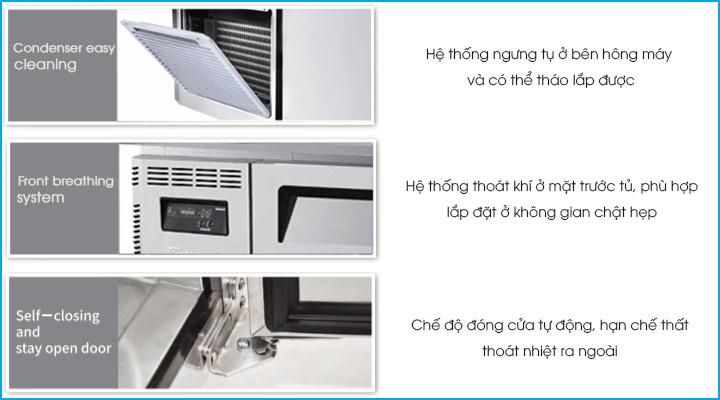 Thiết kế của bàn mát cánh kính Turbo Air tăng hiệu quả sử dụng và tiết kiệm điện năng