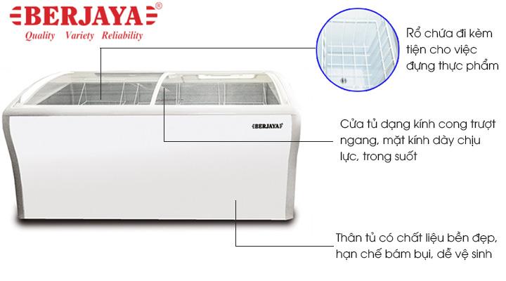 Tủ đông Berjaya BJY-CFGD400 có thiết kế dạng nằm, kính cong, và nhiều tiện ích