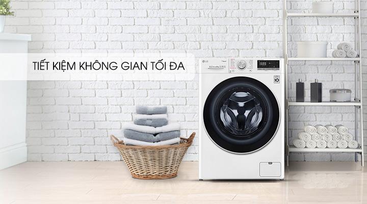 Máy giặt sấy LG FV1408G4W có thiết kế gọn gàng, sang trọng, tiết kiệm không gian tối đa