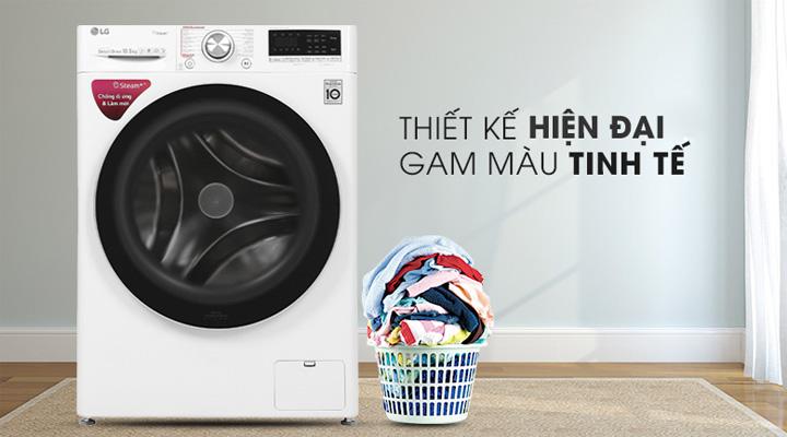 Máy giặt LG FV FV1450S3W có thiết kế hiện đại, gam màu trắng sang trọng