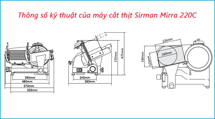 Thông số kỹ thuật của máy cắt thịt Sirman Mirra 220C