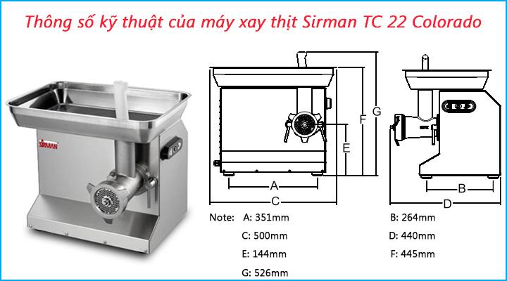 Thông số kỹ thuật của máy xay thịt Sirman Sirman TC 22 Colorado