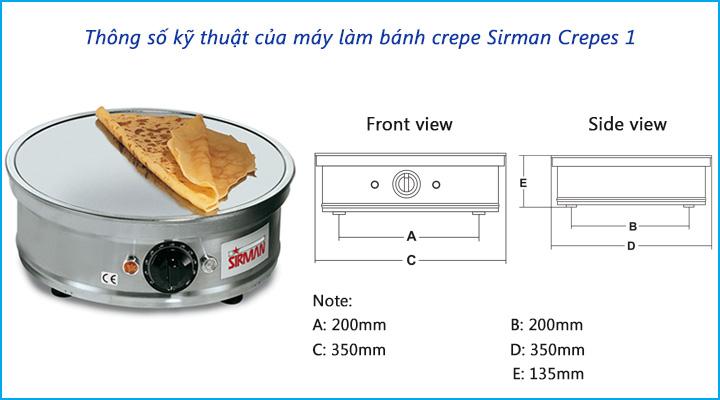 Thông số kỹ thuật của máy làm bánh crepe Sirman Crepes 1
