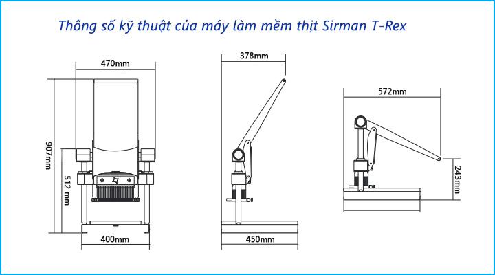 Thông số kỹ thuật của máy làm mềm thịt Sirman T-Rex