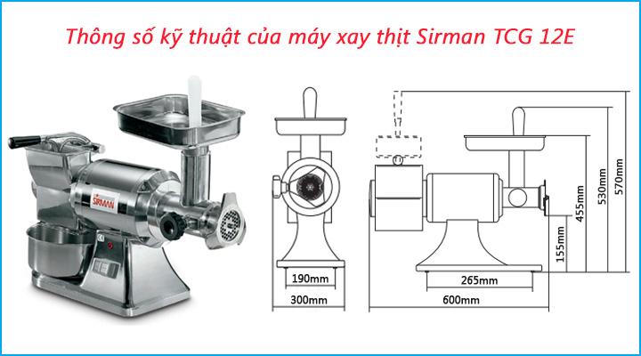 Thông số kỹ thuật của máy xay thịt Sirman TCG 12E