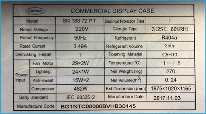 Thông số kỹ thuật của tủ mát trưng bày thịt Carrier 1m9 thanh lý